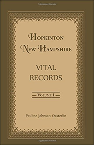 Hopkinton, New Hampshire, Vital Records, Volume 1