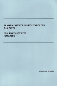Bladen County, North Carolina, Tax Lists: 1768 through 1774, Volume I