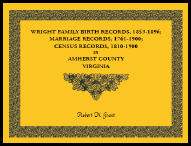 Wright Family Birth Records, 1853-1896, Marriage Records, 1761-1900, Census Records, 1810-1900 in Amherst County, Virginia