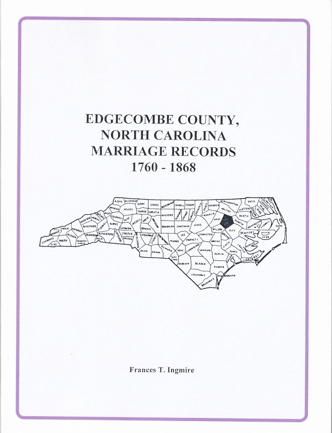 Edgecombe County, North Carolina Marriage Records, 1760 - 1868