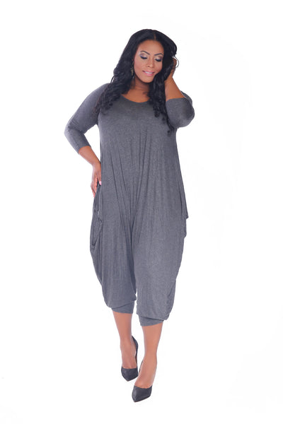 Charcoal Grey Cotton Romper