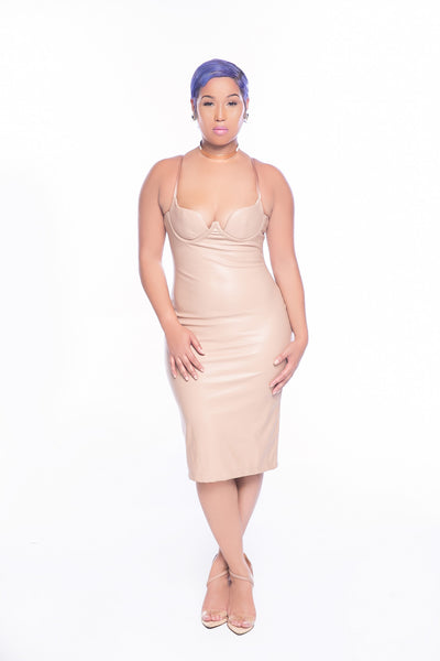 Nude Faux Leather Bralet Dress