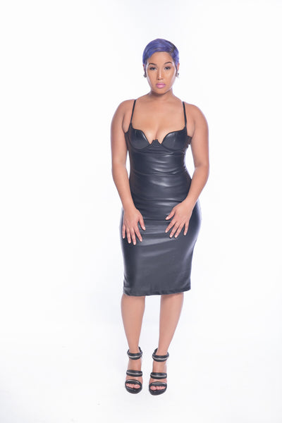 Black Faux Leather Bralet Dress