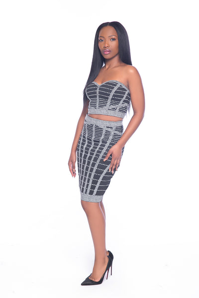 Black and Grey Striped Two Piece