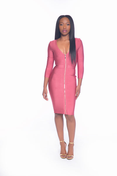 Bodycon Front Zipper  Dress
