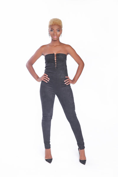 Black Front Slit Jumpsuit