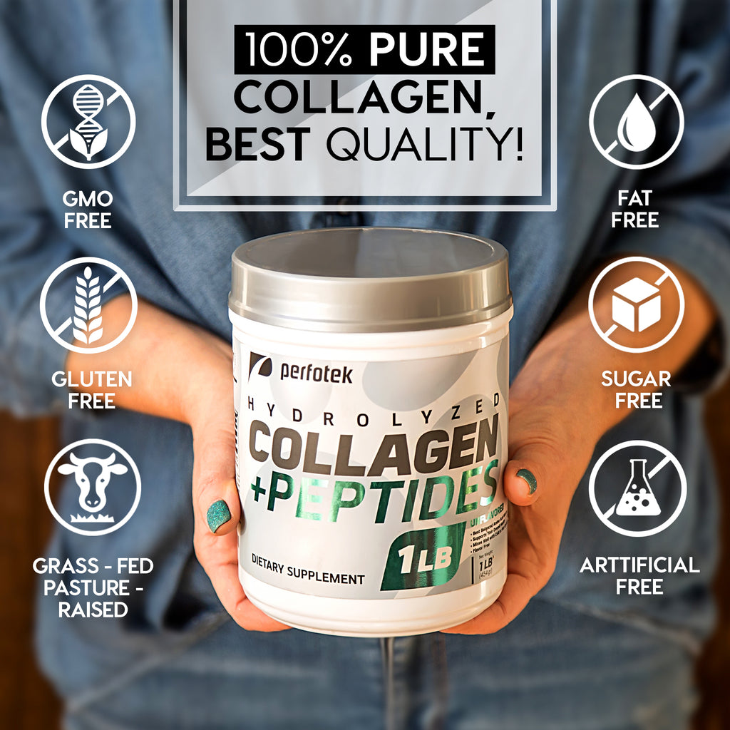 1Lb Hydrolyzed Collagen Powder with Peptides 16oz