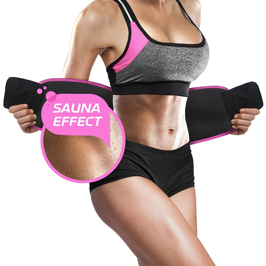 Perfotek Waist Trimmer Belt with Sauna Suit Effect Pink