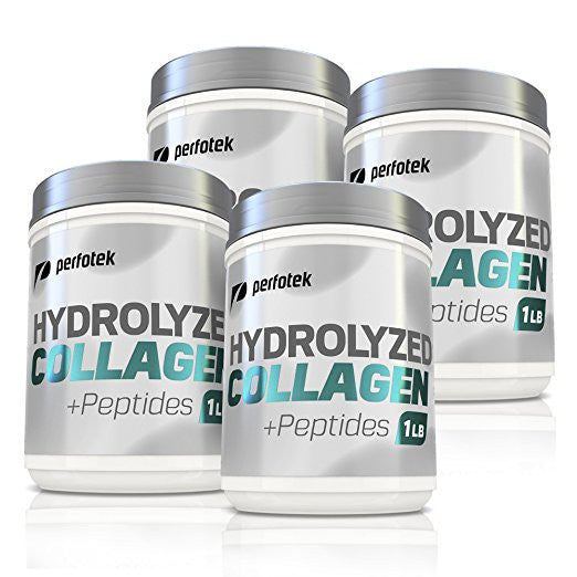 4 Pack of Perfotek Premium Hydrolyzed Collagen with  Peptides 16 oz