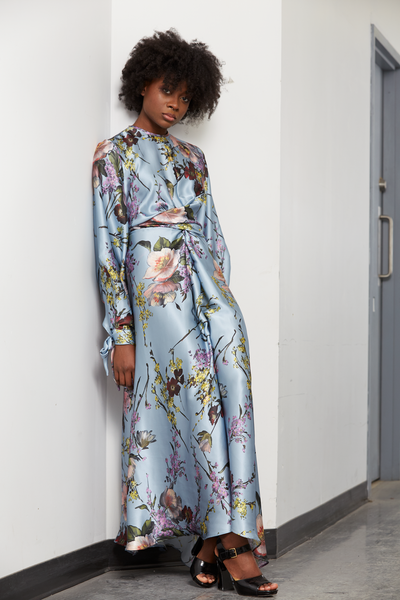 Floral Puffed Sleeve Silk Maxi Dress | Blue Floral