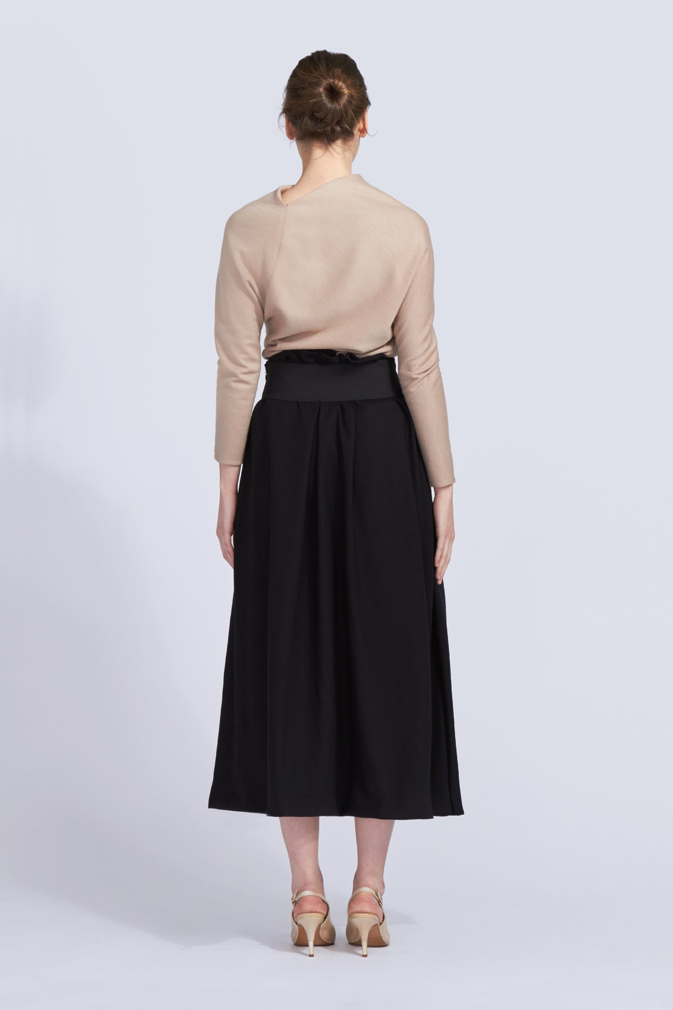 High Waisted Cinched Flared Skirt
