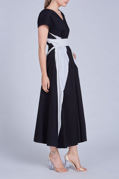 Leinad dress Asymmetric Cinched Waist Maxi Dress | Black & White - alltrueist - vegan