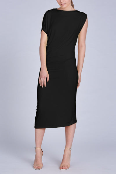 Leinad dress Asymmetric Short Sleeve Midi Dress | Black - alltrueist - vegan