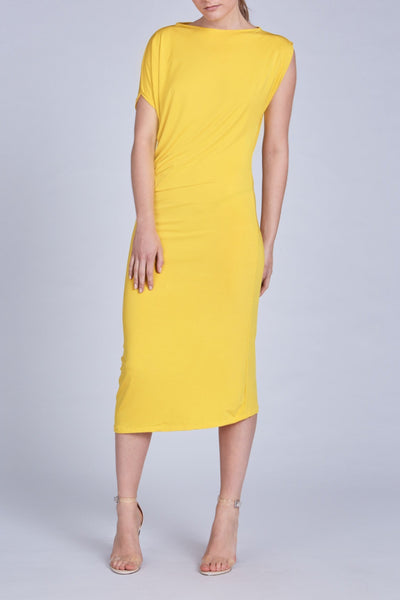 Leinad dress Asymmetric Short Sleeve Midi Dress | Yellow - alltrueist - vegan