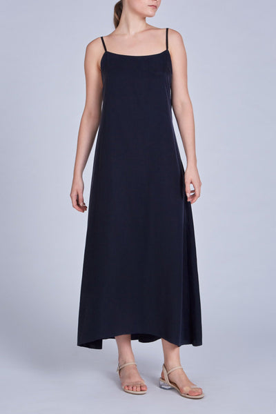 Leinad dress Flared Cupro Maxi Dress | Black - alltrueist - vegan