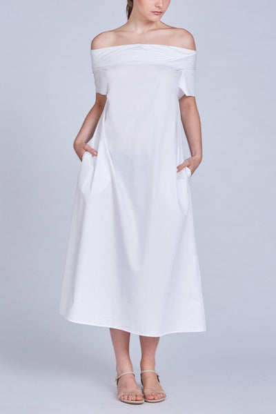 Leinad dress Off-The-Shoulder Cinched Back Maxi Dress | White - alltrueist - vegan