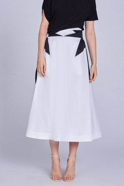 Leinad Skirt High Waisted Deep Pleated Maxi Skirt | Black & White - alltrueist - vegan