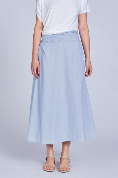 Leinad Skirt Seersucker Cinched High Waisted Maxi Skirt | Light Blue - alltrueist - vegan