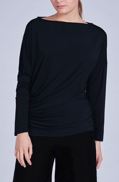 Leinad Top Asymmetrical Twisted Long Sleeve Top | Black - alltrueist - vegan