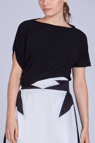 Leinad Top Asymmetrical Twisted Top | Black - alltrueist - vegan