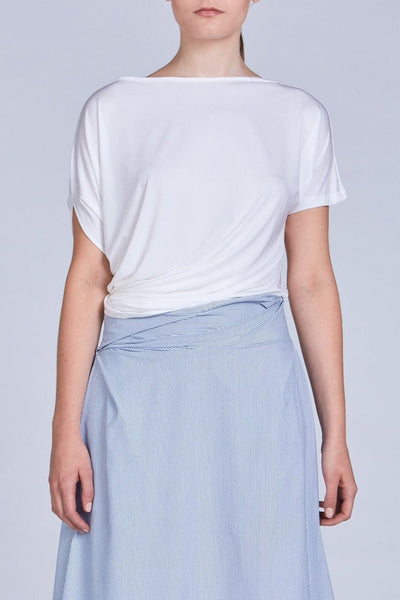 Leinad Top Asymmetrical Twisted Top | White - alltrueist - vegan