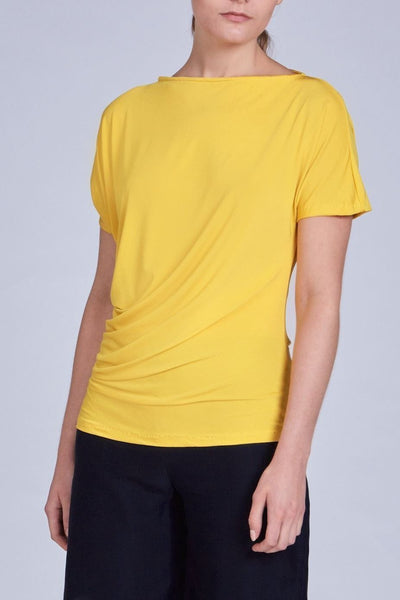 Leinad Top Asymmetrical Twisted Top | Yellow - alltrueist - vegan