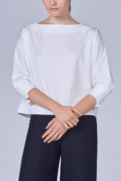 Leinad Top Boat Neck Boxy Top | White - alltrueist - vegan