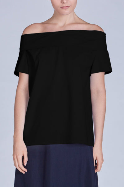 Leinad Top Off-The-Shoulder Cinched Back Top | Black & White - alltrueist - vegan