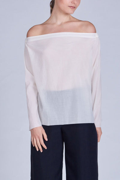 Leinad Top Off-The-Shoulder Drawstring Long Sleeve Top | Ivory - alltrueist - vegan