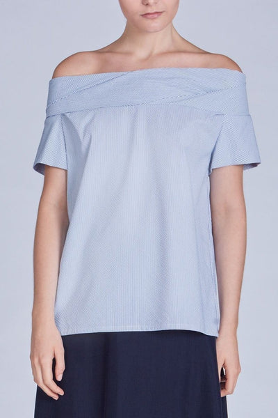 Leinad Top Seersucker Off-The-Shoulder Cinched Back Top | Light Blue - alltrueist - vegan