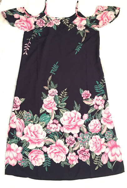 Navy dress w/ pink and white flowers
