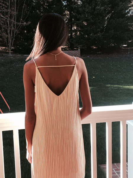 Gold shimmer slip dress