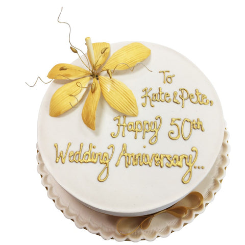 Golden Wedding Anniversary Cake - Last minute cakes delivered tomorrow!