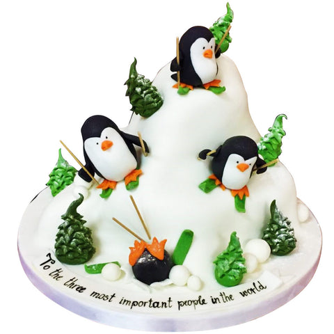 Skiing Penguins Cake - Last minute cakes delivered tomorrow!
