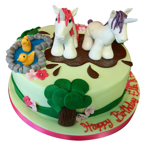 Playing Unicorns Cake - Last minute cakes delivered tomorrow!