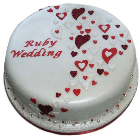 Ruby Wedding Anniversary Cake - Last minute cakes delivered tomorrow!