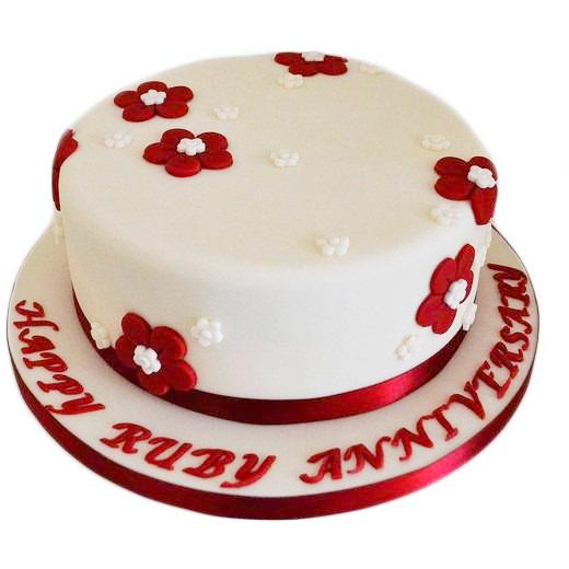Ruby Wedding Anniversary Cake Buy Online Free Uk Delivery New Cakes