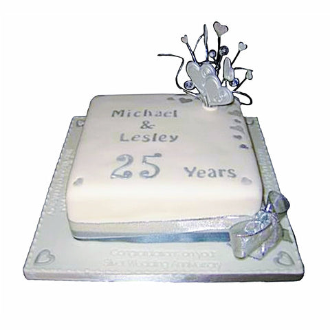Silver Wedding Anniversary Cake - Last minute cakes delivered tomorrow!