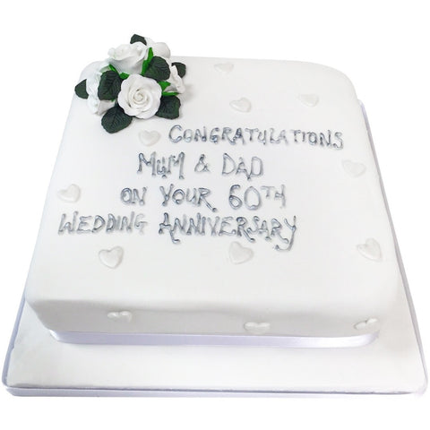 Diamond Wedding Anniversary Cake - Last minute cakes delivered tomorrow!