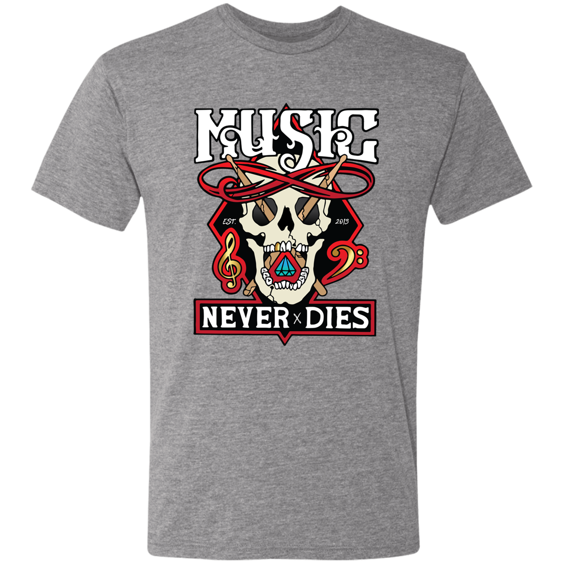 Music Never Dies - Men's Triblend Skull T-Shirt