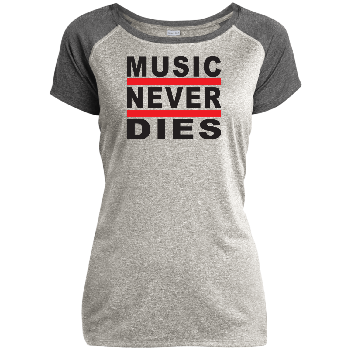 Music Never Dies Ladies Heather on Heather Performance T-Shirt