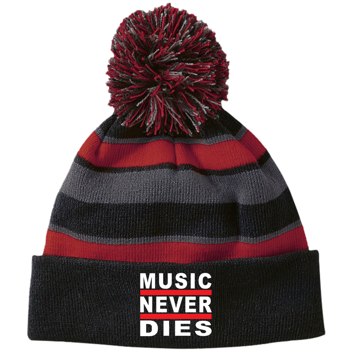 Music Never Dies Striped Beanie with Pom