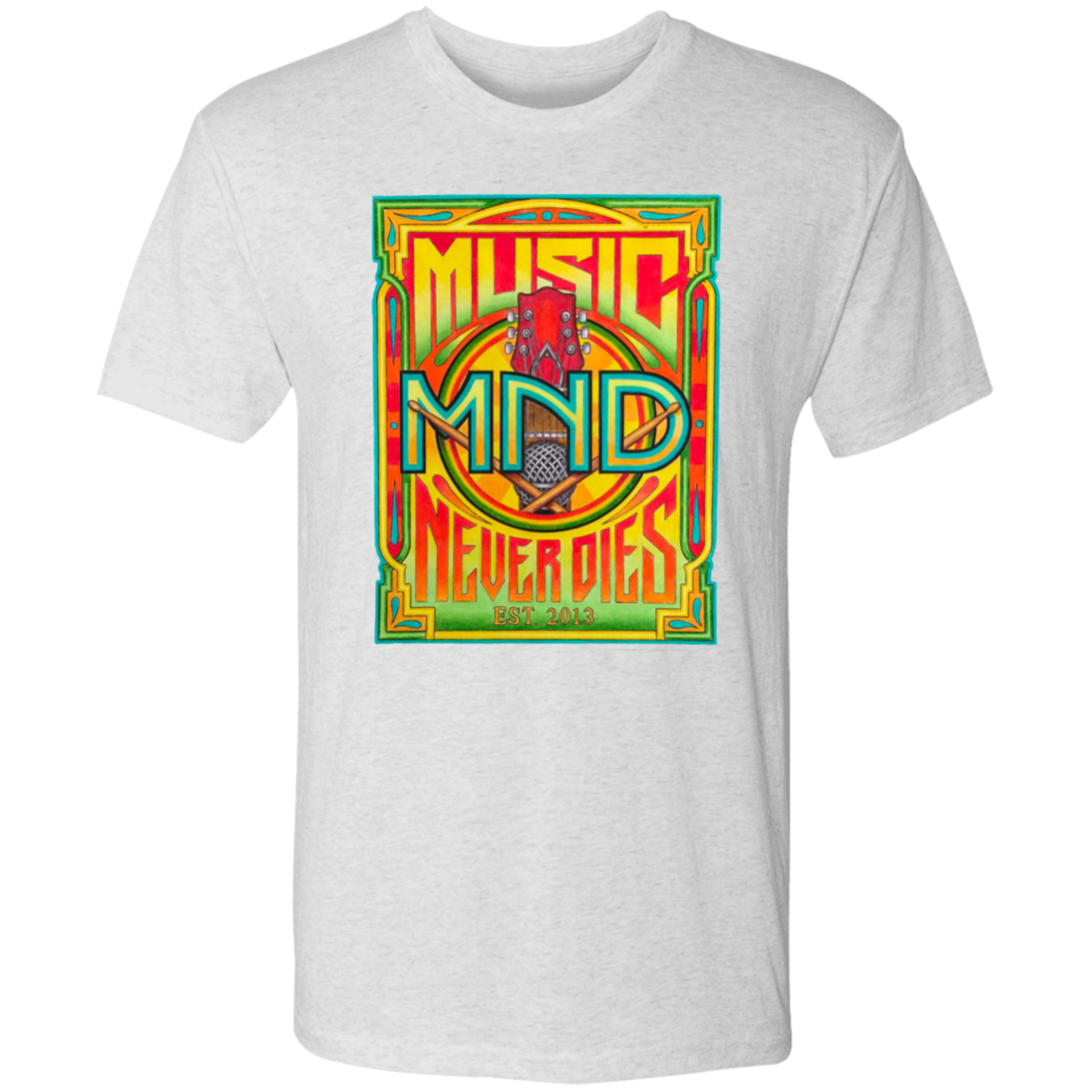 Music Never Dies Men's Vintage Poster T-Shirt