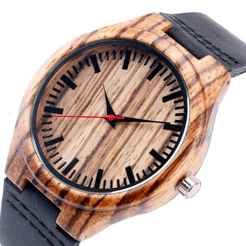 Fashion Nature Wood Bamboo Black Genuine Leather Band Strap Sport Wrist Watch Men Women Hot Bangle Minimalist Gift