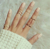 2016 New 6pcs /lot Shiny Punk style Gold plated Stacking midi Finger Knuckle rings Charm Leaf Ring Set for women Jewelry