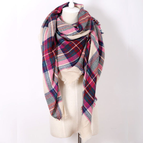 2016 Fashion Brand Designer Cashmere Triangle Pink Scarf Winter Women Shawl Pashmina Cape Blanket Plaid Foulard Wholesale