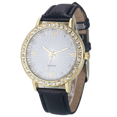 2016 Casual Women Watch, Fashion Montre Women's Crystal Diamond Watches Analog Leather Quartz Wrist Watch Female Dress Relogio