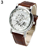 2015 Popular Style Men's Women's Roman Numerals Faux Leather Band Skeleton Analog Sports Dress Wrist Watch 4MAQ