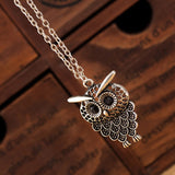 Vintage Women Owl Pendant Long Sweater Chain Jewelry Golden Antique Silver Bronze Charm fashion free shipping