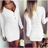 Vestidos 2016 Autumn Women Dresses Zipper O-neck Sexy Knitted Dress Long Sleeve Bodycon Sheath Pack Hip Dress Vestidos GV090